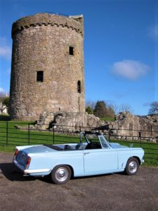 Historical sites of DG | Triumph Herald at Orchardton Tower | Kippford Classic Car Hire
