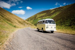VW Camper Driving the Scottish Hills | Kippford Classic Car Hire
