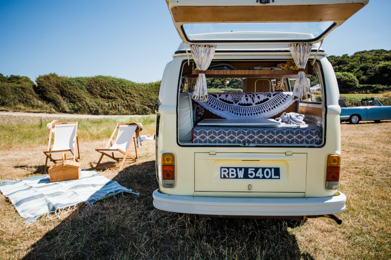 Classic Car HIre | VW Camper Van On Beach | Kippford Classic Car Hire