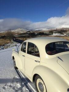 Morris Minor in the snow | Kippford Classic Car Hire
