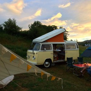 VW Camper and Bell Tent | kippford Classic Car Hire