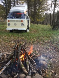 VW Camper and campfire | Kippford Classic CAr Hire